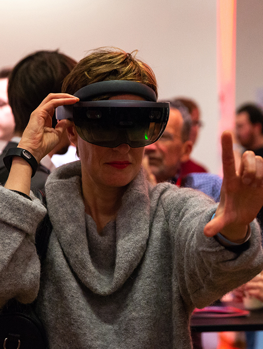 Person using a virtual reality mask